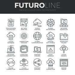 Modern thin line icons set of cloud data technology services, global connection. Premium quality outline symbol collection. Simple mono linear pictogram pack. Stroke vector logo concept, web graphics.