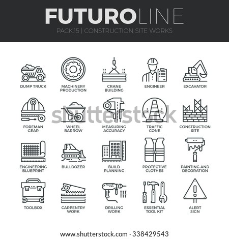 Modern thin line icons set of construction works on site and building tools. Premium quality outline symbol collection. Simple mono linear pictogram pack. Stroke vector logo concept for web graphics.