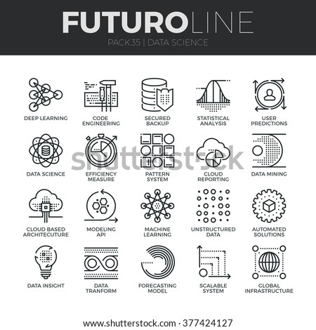 Modern thin line icons set of data science technology, machine learning process. Premium quality outline symbol collection. Simple mono linear pictogram pack. Stroke vector logo concept, web graphics.