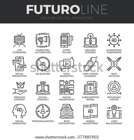 Modern thin line icons set of digital marketing, live streaming and advertising. Premium quality outline symbol collection. Simple mono linear pictogram pack. Stroke vector logo concept, web graphics.