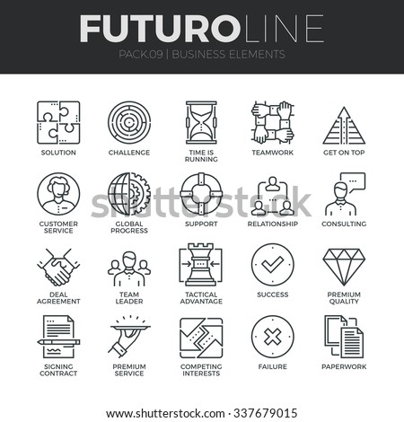 Modern thin line icons set of doing business elements, solution for clients. Premium quality outline symbol collection. Simple mono linear pictogram pack. Stroke vector logo concept for web graphics. #337679015