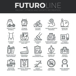 Modern thin line icons set of fitness gym equipment, sports recreation activity. Premium quality outline symbol collection Simple mono linear pictogram pack Stroke vector logo concept for web graphics