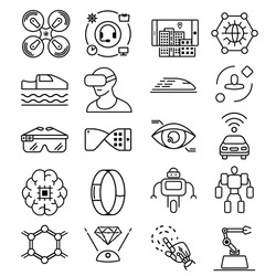 Modern thin line icons set of future technology and artificial intelligent robot. Premium quality outline symbol collection. Simple mono linear pictogram pack. Stroke vector logo concept, web graphics