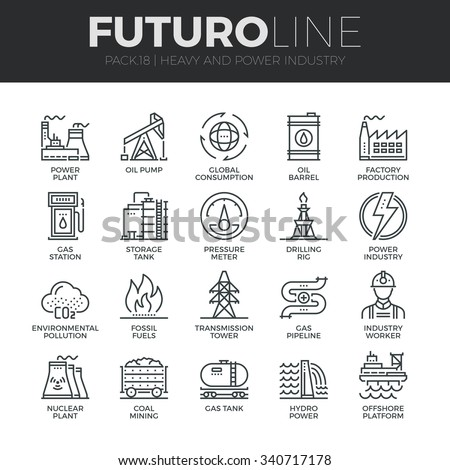 Modern thin line icons set of heavy industry, power plant, mining resources. Premium quality outline symbol collection. Simple mono linear pictogram pack. Stroke vector logo concept for web graphics. - Shutterstock ID 340717178