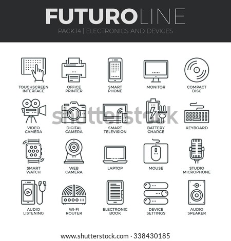Modern thin line icons set of home electronics and personal multimedia devices. Premium quality outline symbol collection. Simple mono linear pictogram pack. Stroke vector logo concept for web graphic
