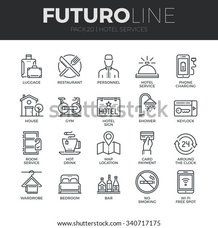 Modern thin line icons set of hotel service amenities, rent house facilities. Premium quality outline symbol collection. Simple mono linear pictogram pack. Stroke vector logo concept for web graphics.