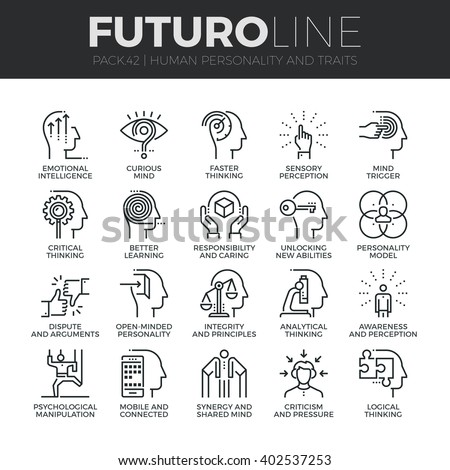 Modern thin line icons set of human personality, thinking traits, mind abilities Premium quality outline symbol collection Simple mono linear pictogram pack Stroke vector logo concept for web graphics