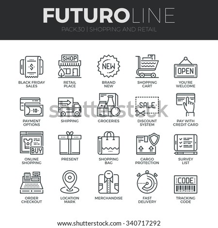 Modern thin line icons set of internet shopping, retail store and online sales. Premium quality outline symbol collection. Simple mono linear pictogram pack. Stroke vector logo concept for web graphic
