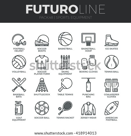 modern thin line icons set of