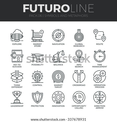 Modern thin line icons set of various business symbols and metaphor elements. Premium quality outline symbol collection. Simple mono linear pictogram pack. Stroke vector logo concept for web graphics.