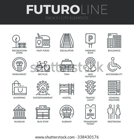 Modern thin line icons set of various city elements, street transportation sign. Premium quality outline symbol collection. Simple mono linear pictogram pack. Stroke vector logo concept, web graphics.