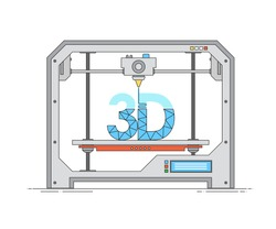Modern thin linear icon of 3d printer. The printing process on the 3D printer. Modern technology 3d printing in outline flat style. Vector illustration for website or infographics.