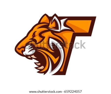 modern tiger t letter alphabet