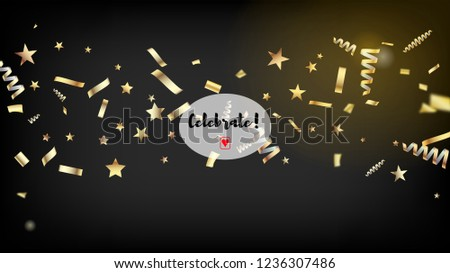 modern tinsel confetti isolated golden celebration foil cool rich vip christmas new year