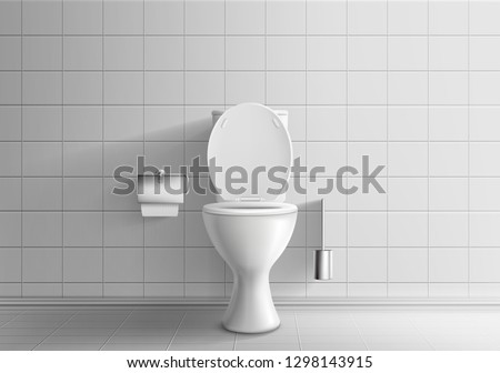 Modern toilet room interior 3d realistic vector mockup with tiled walls and floor, classic white ceramic toilet bowl with water tank and opened seat lid, paper and brush in metal holders illustration