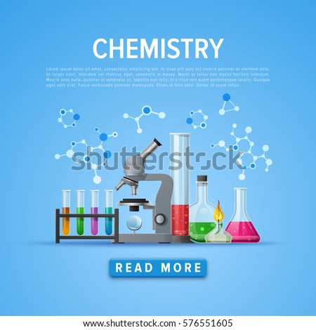 Modern tool set of Chemistry. Information card laboratory template. Online and education courses, web tutorial. Vector illustration.