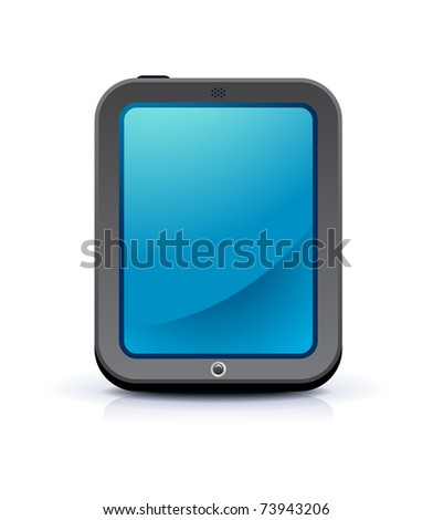 modern touch screen device on white