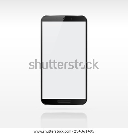 Modern touchscreen cellphone tablet smartphone isolated on light background.  Empty screen