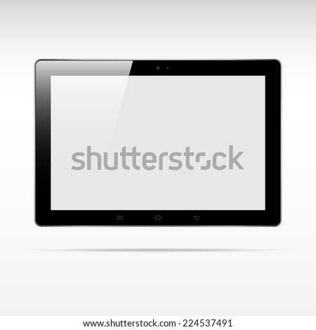Modern touchscreen tablet computer isolated on light background. Blank screen