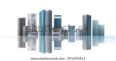 Modern town. City on white background and reflection