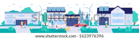 Modern town with renewable energy technologies, vector illustration. Environment friendly lifestyle concept, houses with solar panels, wind turbines and electric cars. Sustainable energy environment Сток-фото ©