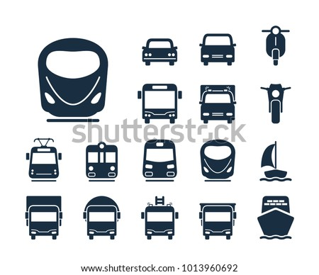 Modern train icon. Collection of transport line icons.