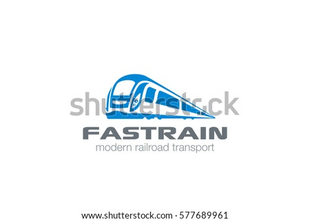 Modern Train silhouette Logo design vector template. Monorail subway futuristic metro railway transport Logotype icon.