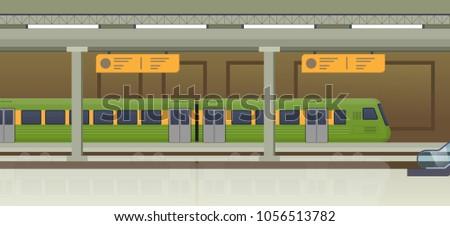 Modern train, underground railway station. Railway type of transport, locomotive, with passenger compartment, cargo wagons and trailers. Subway tram, public transport, metro. Vector illustration.