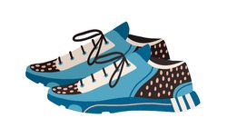 Modern trainers or sneakers for running and fitness. Side view of women's sport footwear isolated on white background. Colored flat vector illustration of shoes model