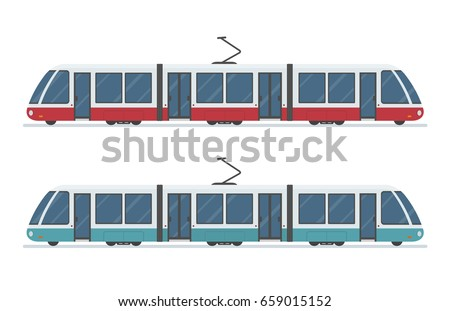 Modern Tram isolated on white background. Flat style, vector illustration.