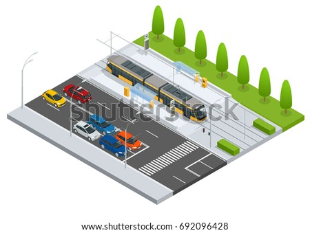 Modern Tram on the stop and  cars on the road Metropolitan mass transit system icons featuring tram car, cable car and modern tramway train Ideal for transportation infographics City Transport
