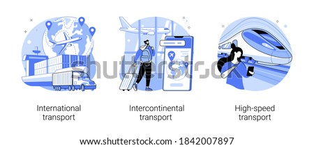 Modern transportation abstract concept vector illustration set. International, intercontinental and high-speed transport, sea freight, air cargo, plane at airport, railway station abstract metaphor.