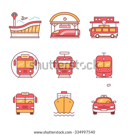 Modern transportation and urban infrastructure set. Road, rail and water city transportation stations signs. Thin line art icons. Flat style illustrations isolated on white.