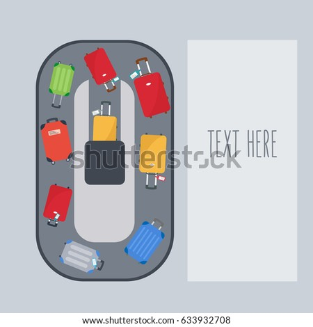 modern travel bags for the flight & luggage vacation background. space & text - holiday. suitcase on flat design conveyor belt. colorful  Baggage claim of passengers at airport vector illustration.
