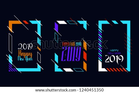 Modern trend in the graph. vector illustration. New Year 2019. Colorful dynamic hipster graphics #1240451350