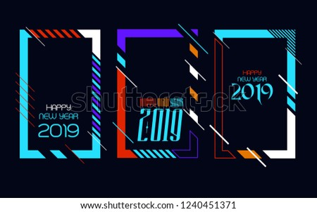 Modern trend in the graph. vector illustration. New Year 2019. Colorful dynamic hipster graphics #1240451371