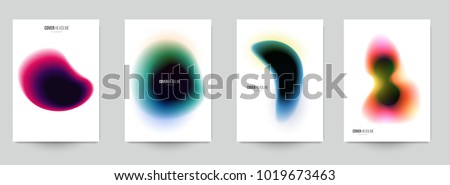 Modern trendy background cover posters, banners, flyers, placards. Set of abstract minimal template design for branding, advertising in colorful blur style. Vector illustration. EPS 10.