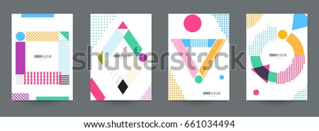 Modern trendy background cover posters, banners, flyers, placards. Set of abstract minimal template design for branding, advertising in retro geometric memphis style. Vector illustration. EPS 10. #661034494