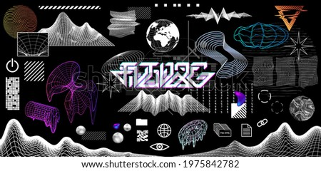 Modern trendy geometric elements and 3D shapes. Digital vaporwave  in memphis and glitch style. Retrofuturistic Geometric elements set for trendy design. Vector set memphis and Vaporwave shapes
