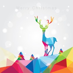 modern trendy merry christmas landscape vector illustration with noel tree forest and reindeer in colorful polygonal composition with copy space