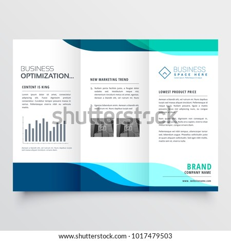 modern tri-fold brochure design with blue shapes
