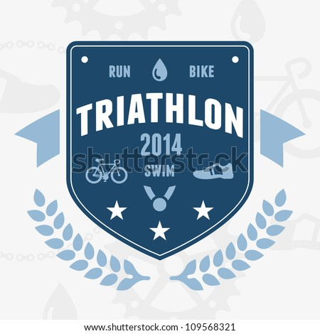 Modern triathlon badge emblem logo with bike and medal graphics - stock vector