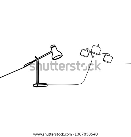 modern triple lamp and single lamp one line lamps on a white background Vector