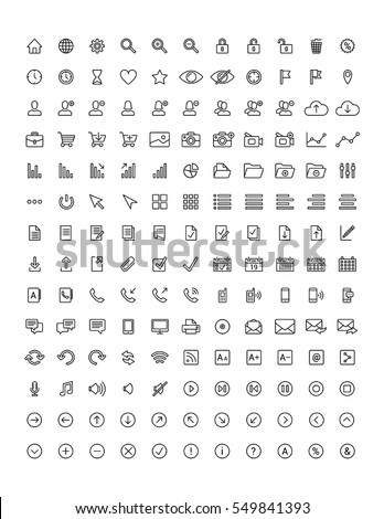 Modern UI flat thin line design icons set of finance, office, marketing, shopping, internet, user interface, navigation, social media. Vector elements for web and mobile applications. Black and white