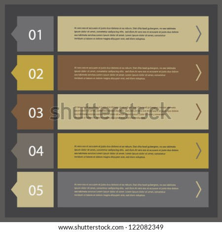 Modern ui style numbered banners, vector design template set 04