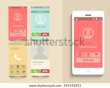 Modern UI, UX and GUI template layout with different Calling Screens in multiple color options for mobile apps and responsive website.