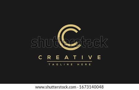 Modern unique creative letter C logo design, Minimal line C initial based vector icon.