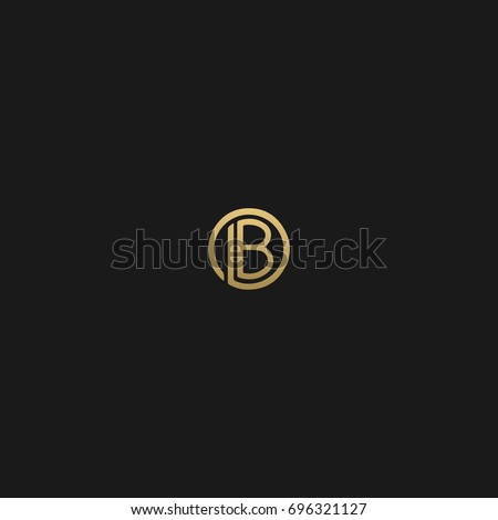 Modern unique creative stylish circular shaped artistic black and gold color LB BL L B initial based letter icon logo.