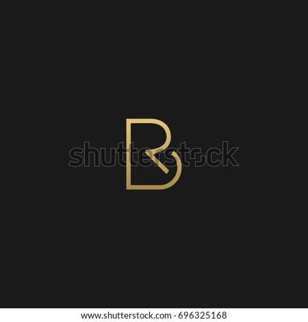 Modern unique creative stylish unusual fashion brands black and gold color BR RB B R initial based letter icon logo.