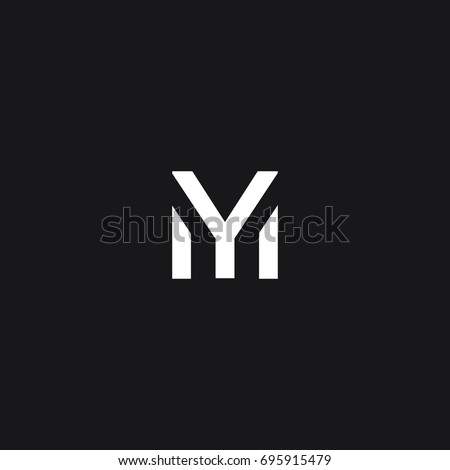 Modern unique creative unusual artistic black and white color MY M Y initial based letter icon logo